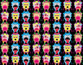 Seamless monster pattern on black background — Stock Vector