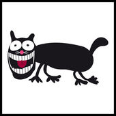 Crazy, smiling cat on white background — Vector de stock
