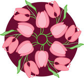 Nice, tulips in circle — Stock Vector