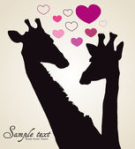 Giraffe in love with chat bubble — Stock Vector
