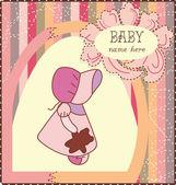 Baby mädchen einladungskarte — Stockvektor