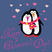 Two penguins in love — Stock Vector