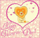 Valentine Greeting Card With Lion — Stock Vector