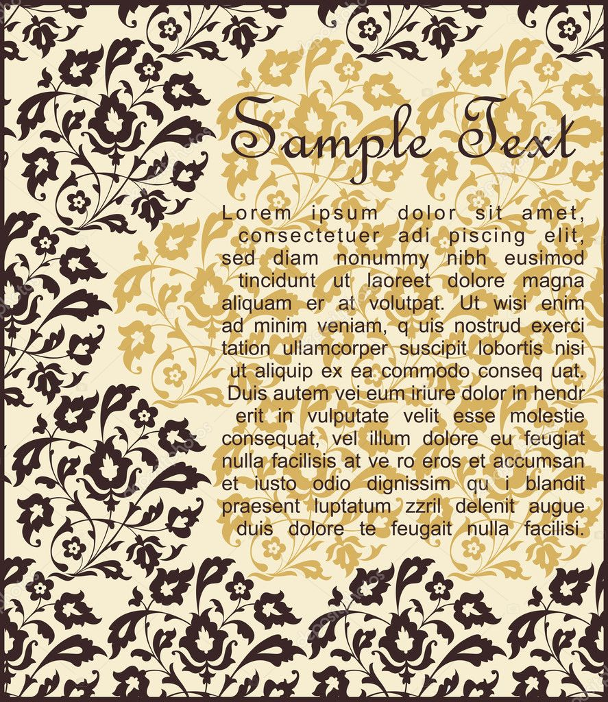 Vector ornate narrow frame with sample text and borders. Perfect as invitation or announcement. All pieces are separate. Easy to change colors and edit. — Stock Vector #11328261