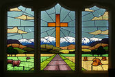 Glass window at Greendale church — Stock Photo