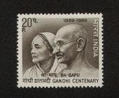 Mahatma Gandhi and his wife Kasturba INDIA - CIRCA 1969 — Stock Photo