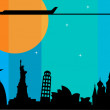 Plane flying over cities at sunset — Stock Vector #11220059