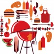 Stock Vector: Set of bbq objects
