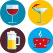 Drink icons with different beverage — Stock Vector