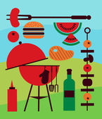 Illustration of backyard barbecue scene — Stock Vector
