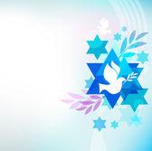 Plantilla de tarjeta con símbolos judíos — Vector de stock