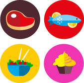 Food icons with meat and vegetarian food — Stock Vector