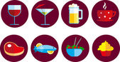 Set of food and drink icons — Stock Vector