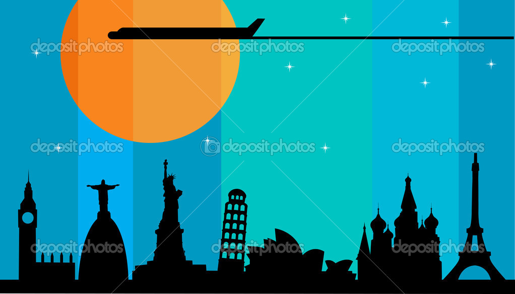 Plane flying over cities at sunset , illustration  Stock Vector #11220059