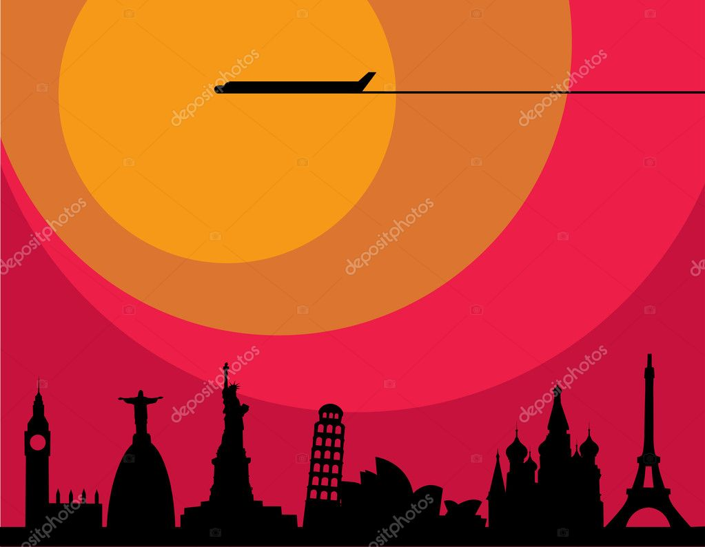 Plane flying over cities at sunset , illustration — Stock Vector #11220061
