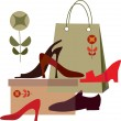 Shoe shopping, shopping bag and different shoes — Stock Vector