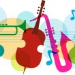 Stock Vector: Music template with notes, guitar and saxophone