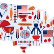 4th of July celebration; Flag with barbecue icons — Stock Vector #11362495