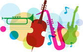 Music template with notes, guitar and saxophone — Stock Vector