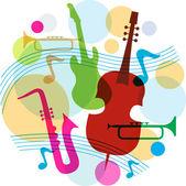 Modelo de música com notas, guitarra e saxofone — Vetor de Stock