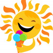 Smiling sun eating ice cream - Stock Vector