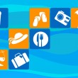 图库矢量图片: Traveling and transportation icon set on blue background