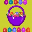 Easter card template - basket with colored eggs and flowers 2 — Stock Vector