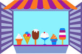 Kiosk that selling ice creams — Stock Vector
