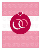 Two wedding rings on pink hearts background — Stock Vector