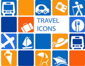 Traveling and transportation icon set — Stock Vector