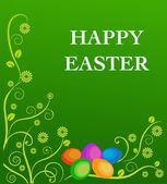 复活节彩蛋与花卉元素 — 图库矢量图片