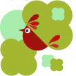 Royalty-Free Stock Vector Image: Cute bird and green flowers design