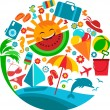 Stock Vector: Summer vacation; template of summer icons
