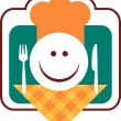 Royalty-Free Stock Vector Image: Happy smiley chef face with fork and knife