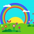 Garden with butterfly, rainbow and flowers — Stock Vector