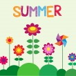 Vector de stock : Summer time; colorful flowers