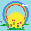 Royalty-Free Stock Vector Image: Rising sun and rainbow