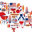 Stock Vector: 4th of July celebration; Flag with barbecue icons