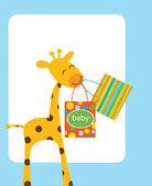 Giraffe holding shopping bags for baby — Stock Vector