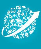 Viajes y transporte en azul — Vector de stock