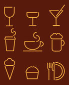Beverage and food set icons — Stock Vector