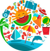Summer vacation; template of summer icons — Stock vektor