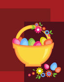 Easter basket full on colorful eggs and flowers — Stock Vector