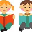 Boy and girl reading books — Stock Vector #12199385