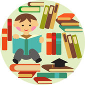Boy reading on pile of books — Stock Vector