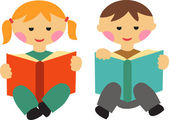 Boy and girl reading books — Stock Vector