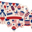 USA vector icons for american independence day — Stock Vector