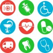 Stock vektor: Collection of medical themed icons