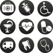 Collection of medical themed icons , black white — Stock Vector