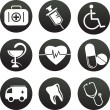 Stockvektor : Collection of medical themed icons , black white